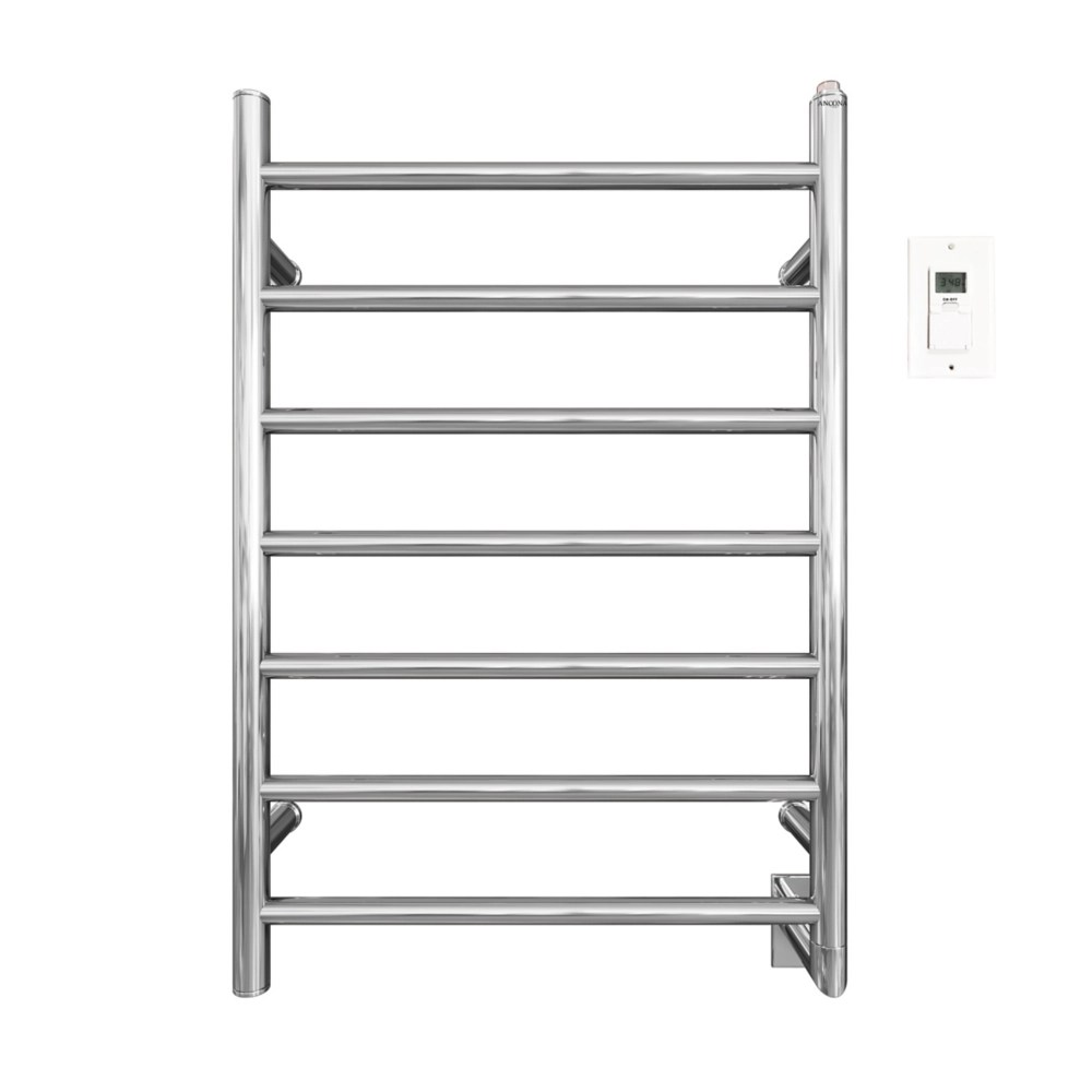 comfort 7 31 inch hardwired electric towel warmer and drying rack in chrome with timer