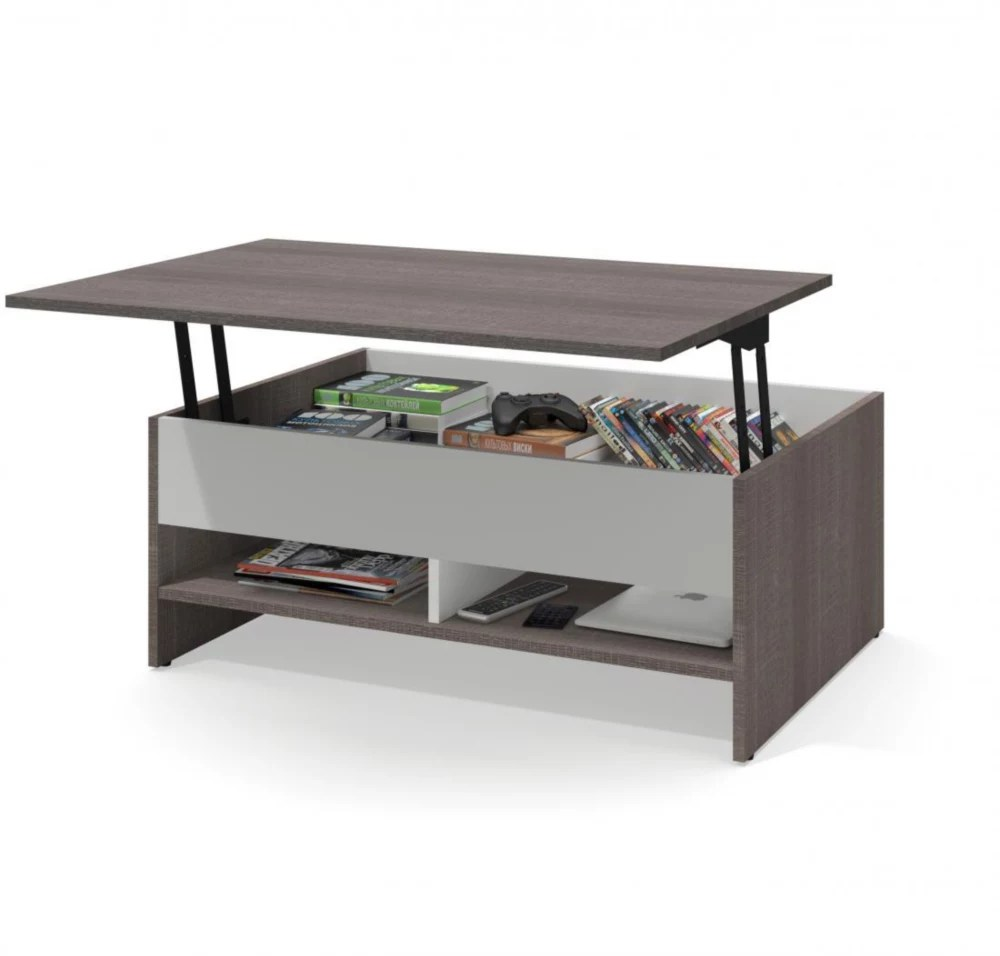 small space 37 inch lift top storage coffee table bark gray white
