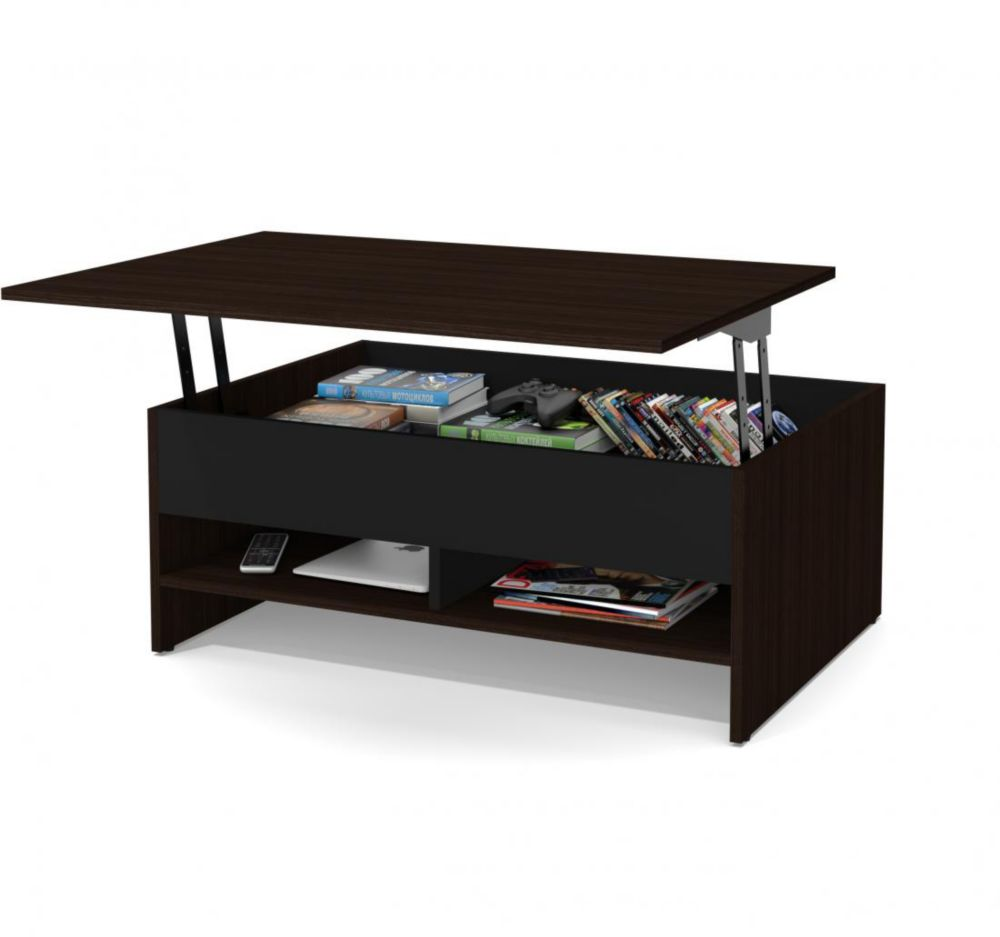 small space 37 inch lift top storage coffee table dark chocolate black