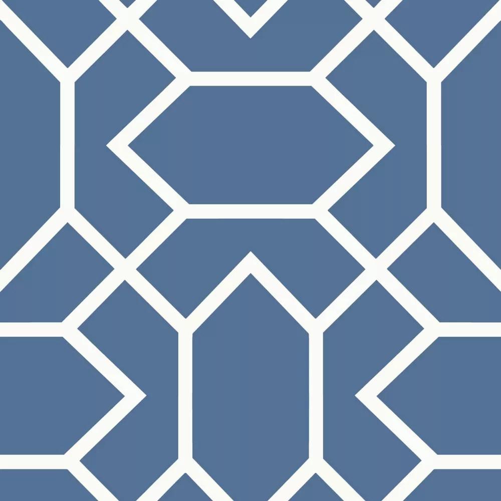 papier peint adhesif geometrique bleu