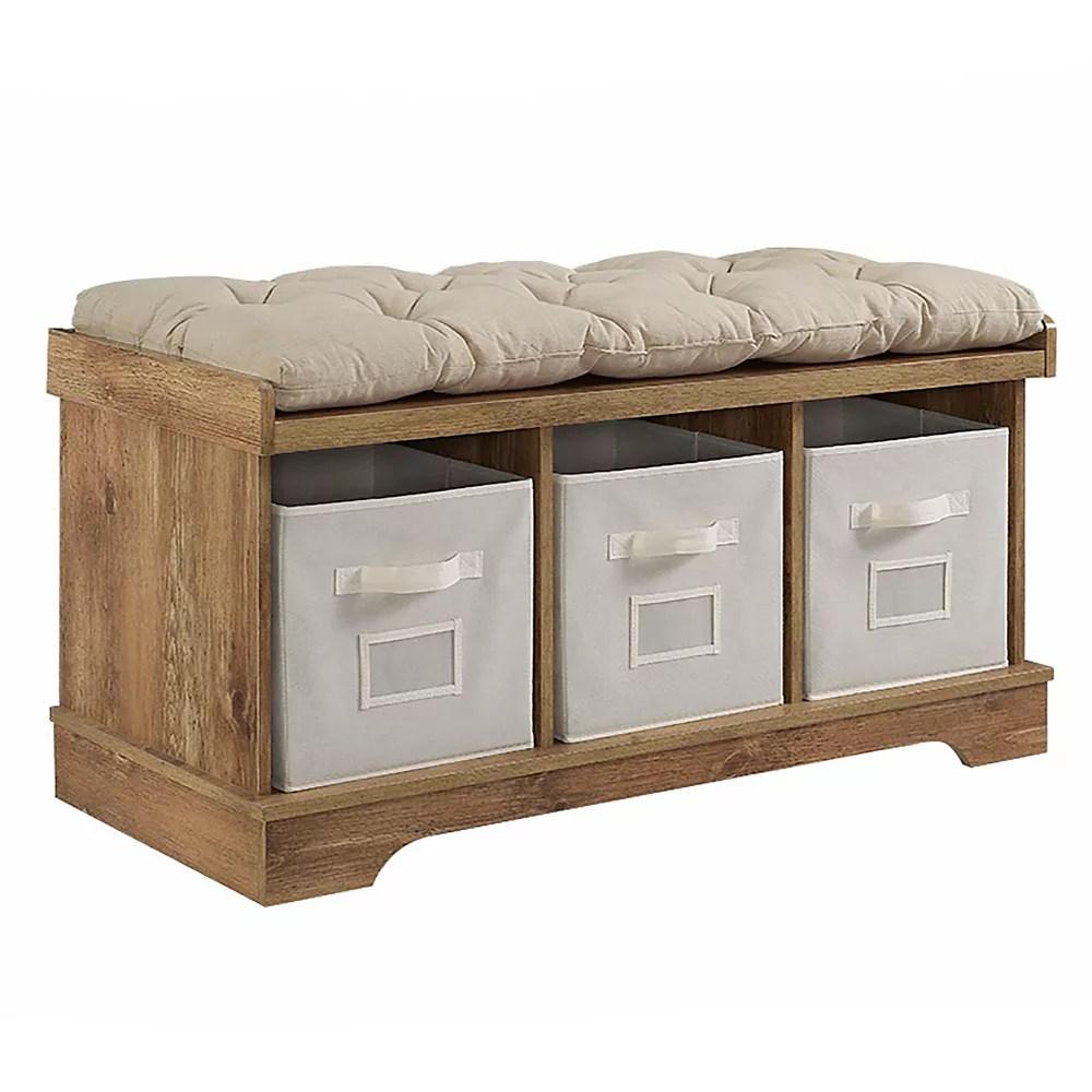 banc de rangement en bois rustique de 106 cm 42 po avec fourre tout et coussin