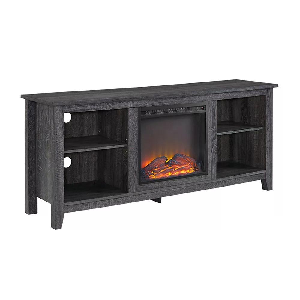 console meuble tv en bois charbon avec cheminee de 147 cm 58 po