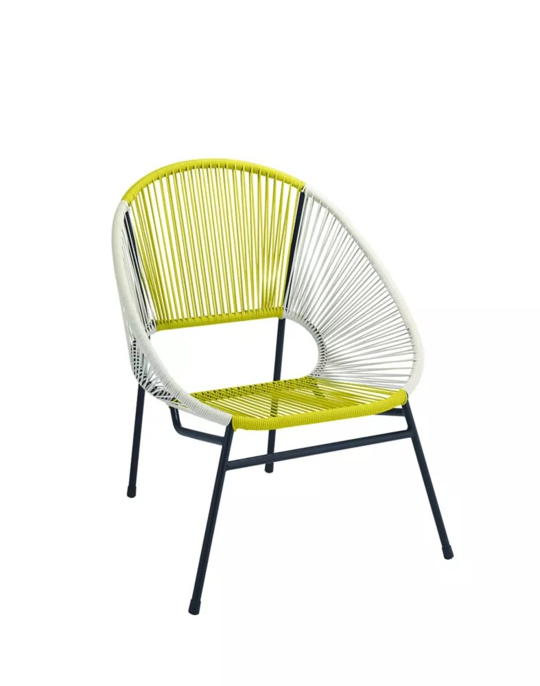 all weather wicker egg patio chair with steel frame in yellow and white
