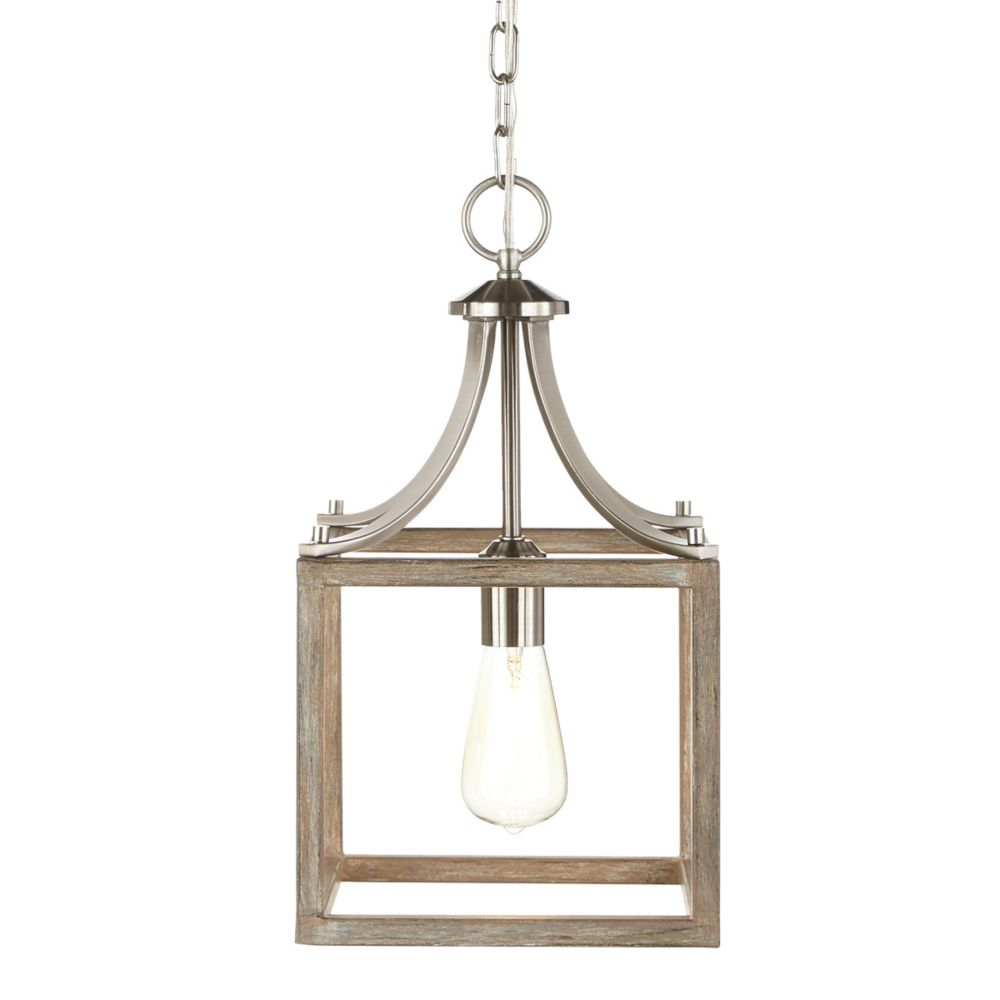 boswell quarter 9 44 inch 1 light brushed nickel kitchen island mini pendant with painted weathered gray wood accents