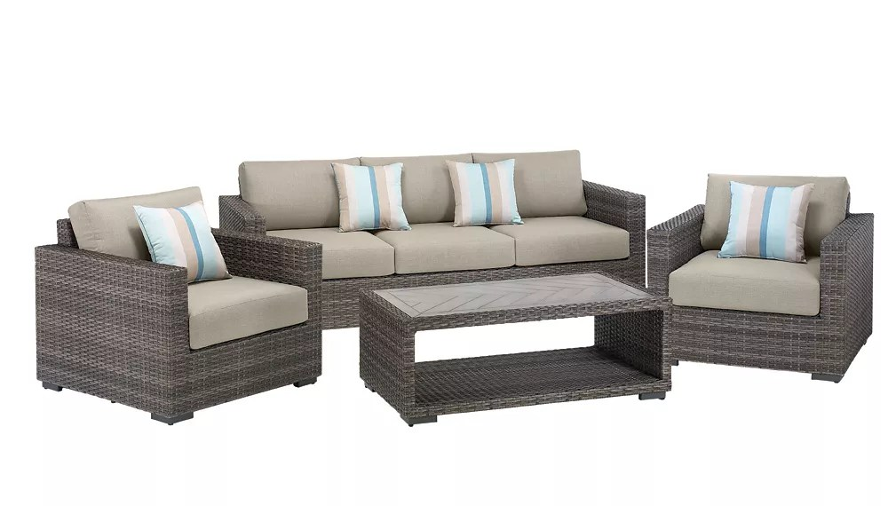 palmetto 4 piece all weather wicker patio chat set with grey cushions