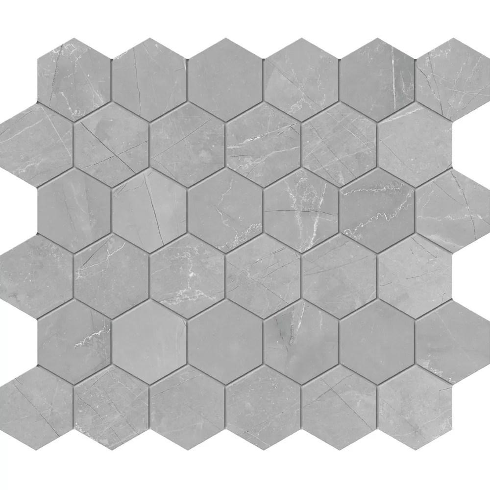 pulpis grey 2 inch hd matte hexagon porcelain mosaic tile