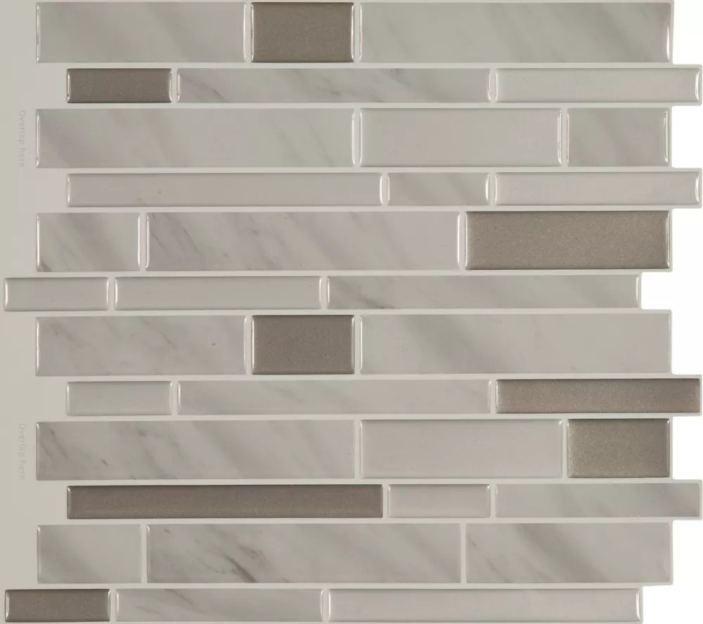 peel and stick backsplash shiny grey marble tile 11 25 inch x 10 inch 4 tile pack