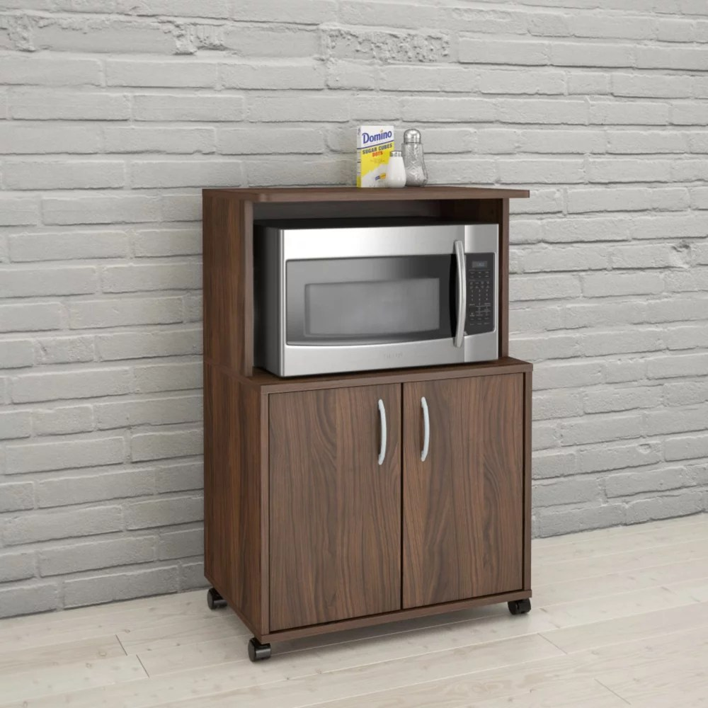 2 door mobile microwave cart walnut