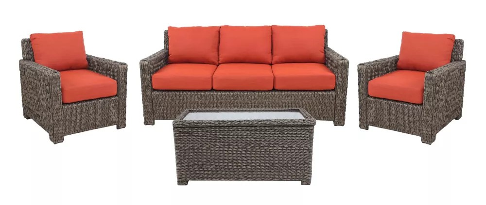 laguna point 4 piece brown wicker outdoor patio deep seating set with standard quarry red cushions