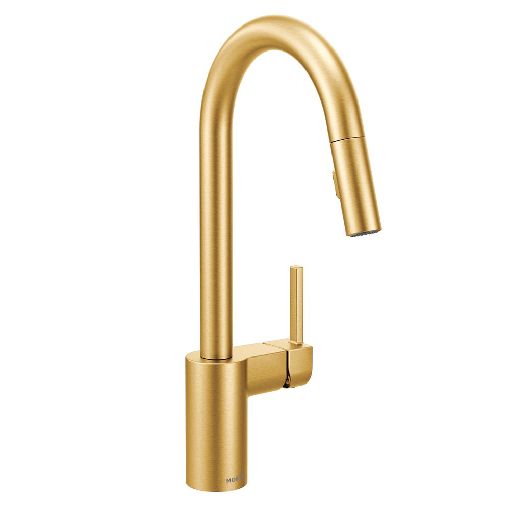 align single handle pull down sprayer kitchen faucet with reflex and power clean in brushed gold