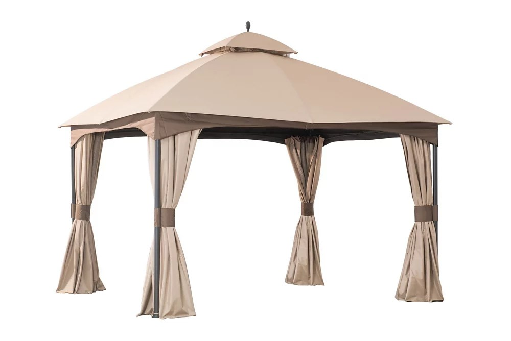 10 ft x 12 ft turnberry outdoor patio gazebo with mosquito netting and private curtain