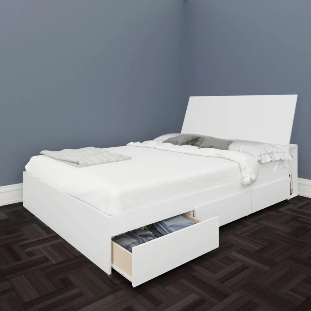 lit rangement et tete de lit double blvd blanc