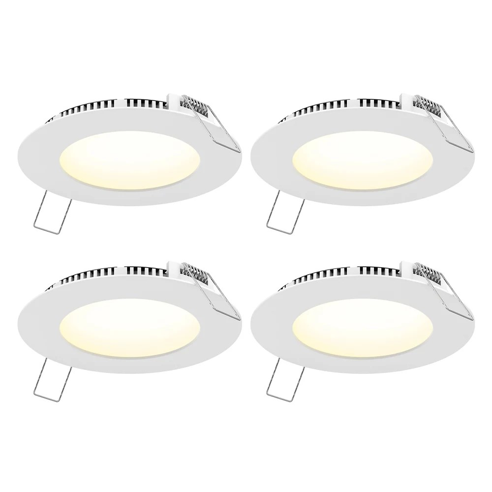 4 inch round white panel cct led recessed lights 4 pack