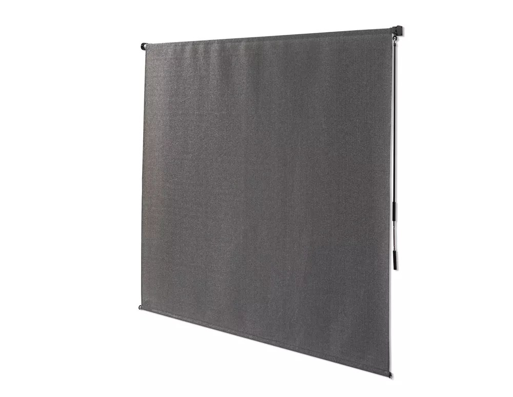 8 ft x 8 ft outdoor crank roller shade with 95 uv protection in pewter