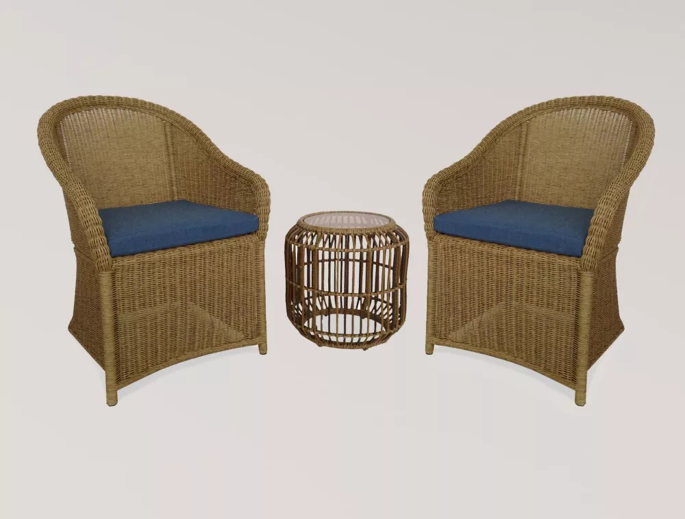 florence 3 piece wicker outdoor bistro set with blue cushion