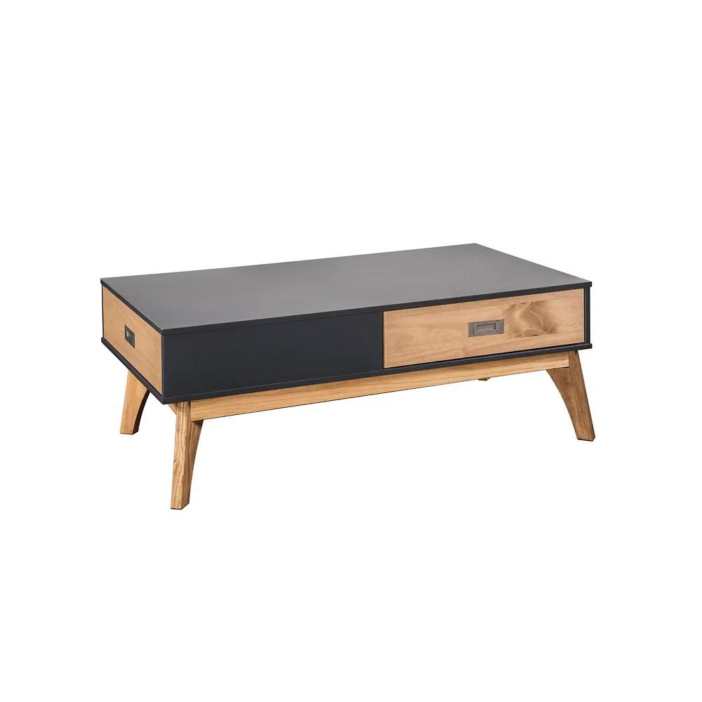 jackie 1 0 table basse en gris fonce et bois naturel