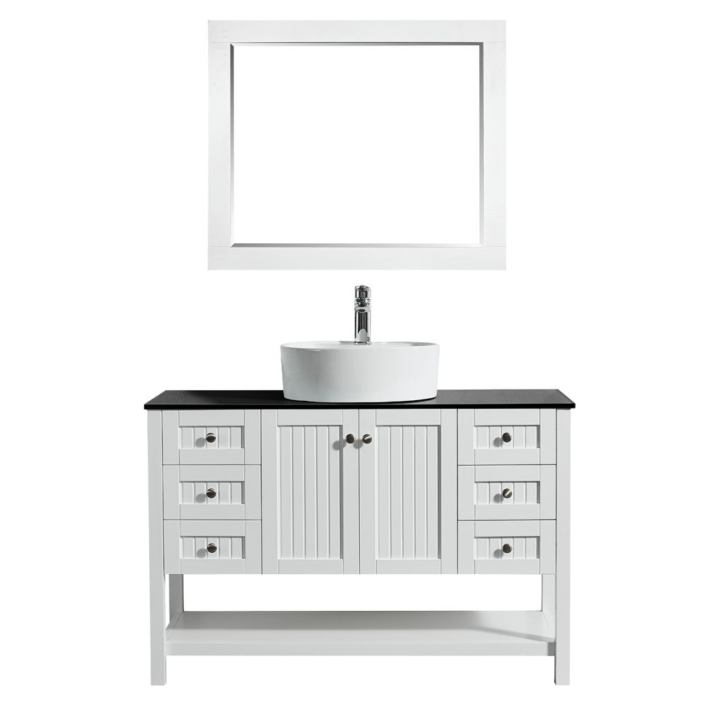 modena 48 inch vanity in white with glass countertop with white vessel sink with mirror