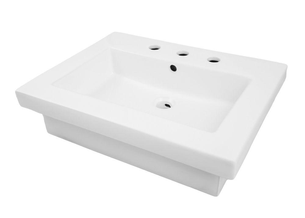 corrina rectangular semi recessed bathroom sink white