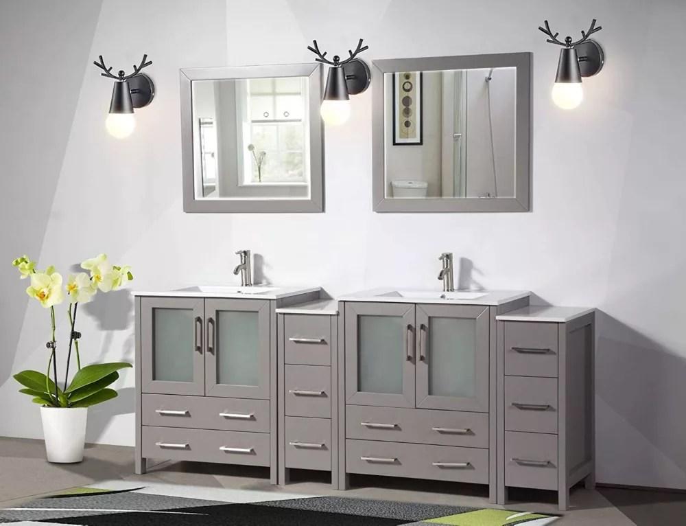 brescia 84 inch bathroom vanity in grey with double basin vanity top in white ceramic and mirror