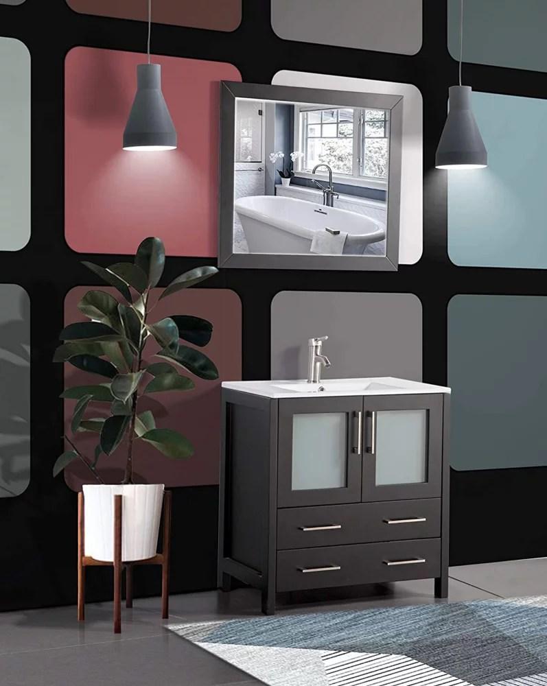 brescia 30inch bathroom vanity in espresso with single basin vanity top in white ceramic and mirror