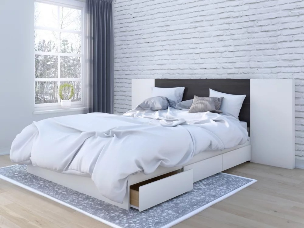 lit rangement queen et tete de lit cadence avec 2 panneaux extension ebene et blanc