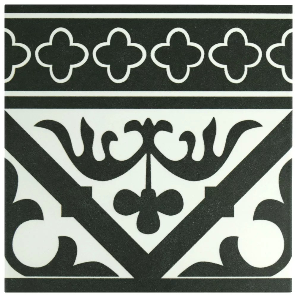 majestic orleans cenefa black 9 3 4 inch x 9 3 4 inch porcelain floor wall border tile 10 76sf ca