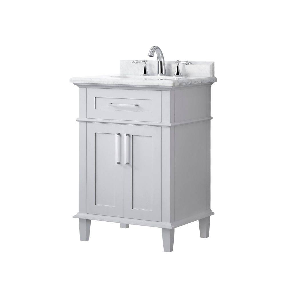 sonoma 24 inch single sink vanity in dove grey with carrara marble top