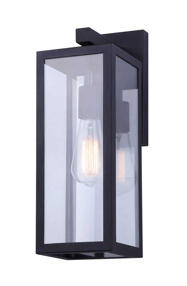montana 16 h 1 light black outdoor wall light with clear glass panels
