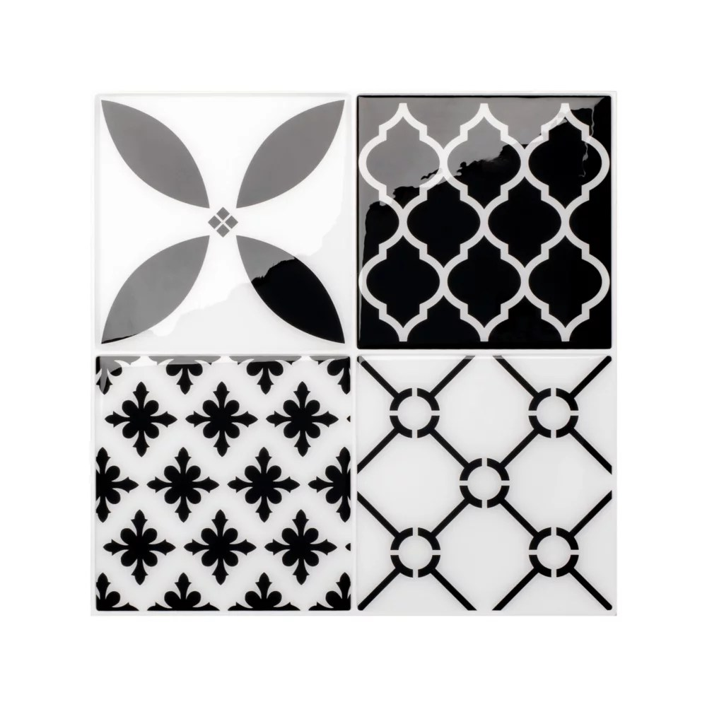 vintage bilbao 9 inch x 9 inch black and white peel and stick decorative wall tile 4 pack