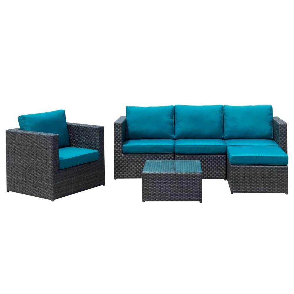 ensemble modulaire de jardin avec fauteuil et table dublin bleu paon 6 pieces