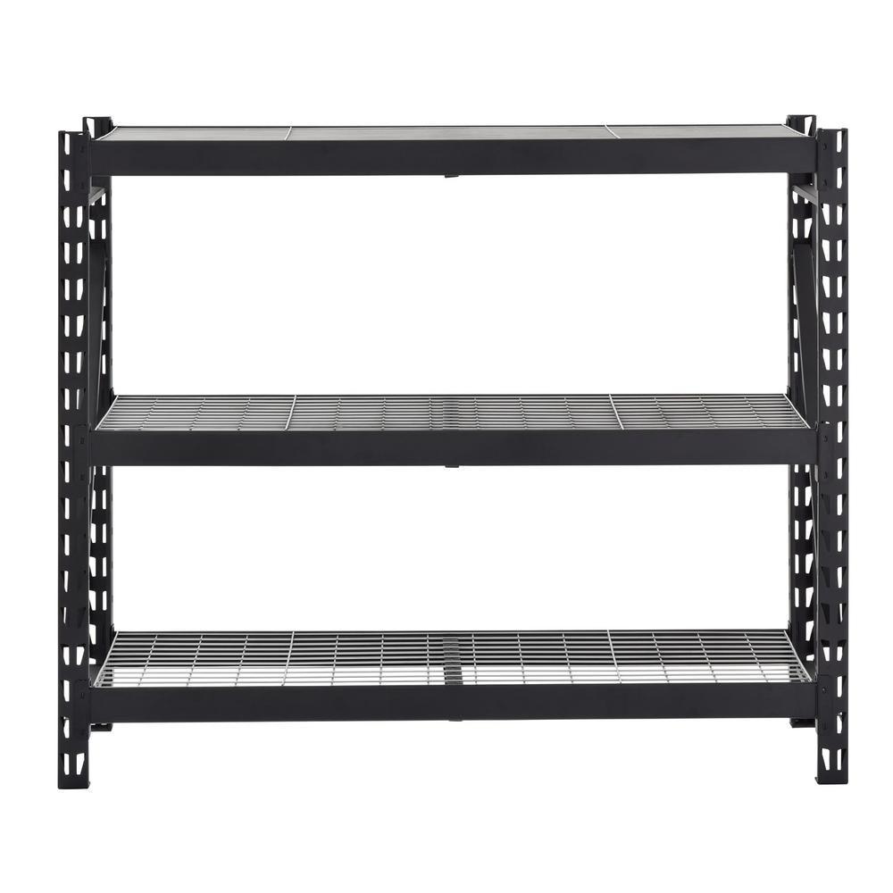 rayonnage de garage a 3 etageres en acier soude avec pont en fil de fer noir