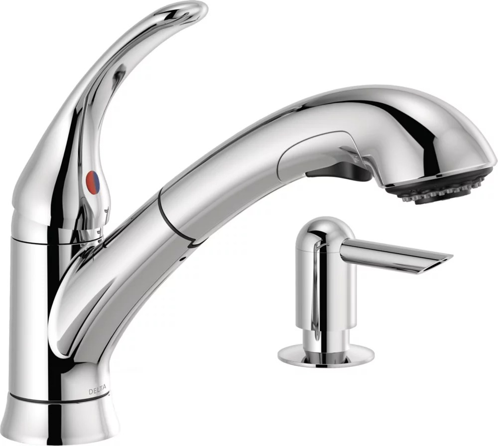 foundations single handle pull out kitchen faucet with soap dispenser in chrome