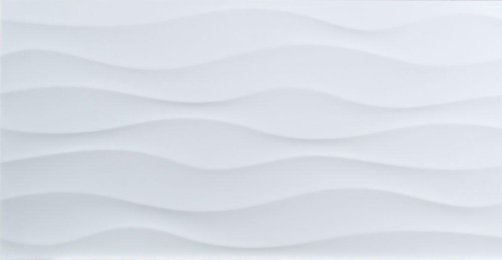 dymo wavy white glossy 12 inch x 24 inch glazed ceramic wall tile 16 sq ft case
