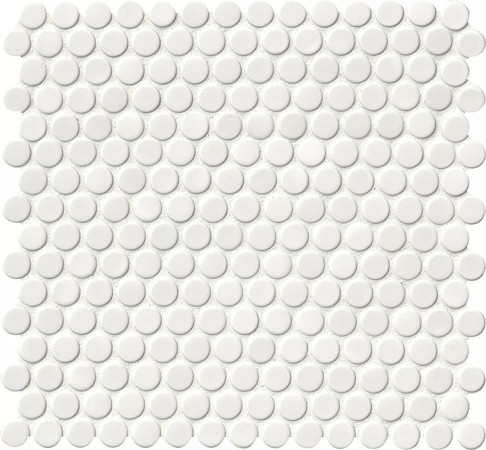 white glossy penny round 11 57 inch x 12 4 inch x 6 mm porcelain mesh mounted mosaic tile 19 93 sq ft case