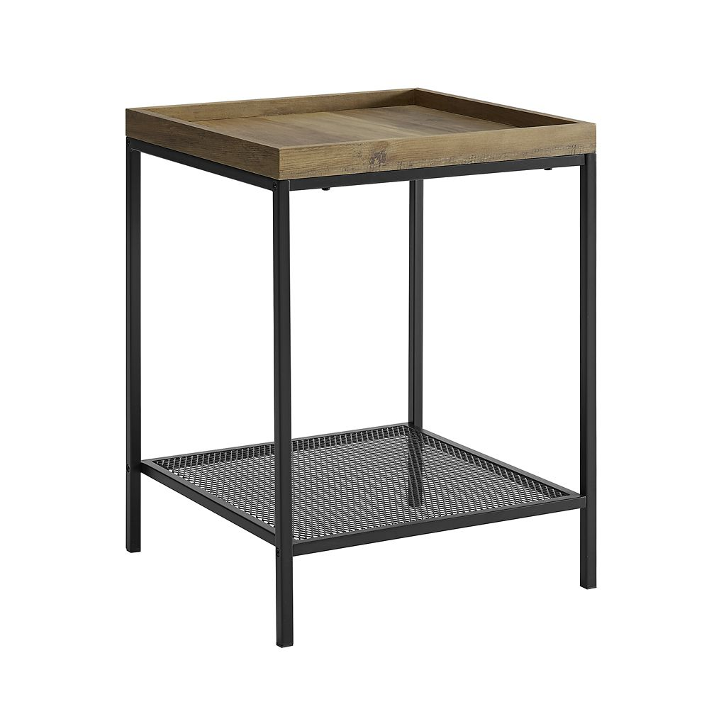 industrial farmhouse square side table reclaimed barnwood