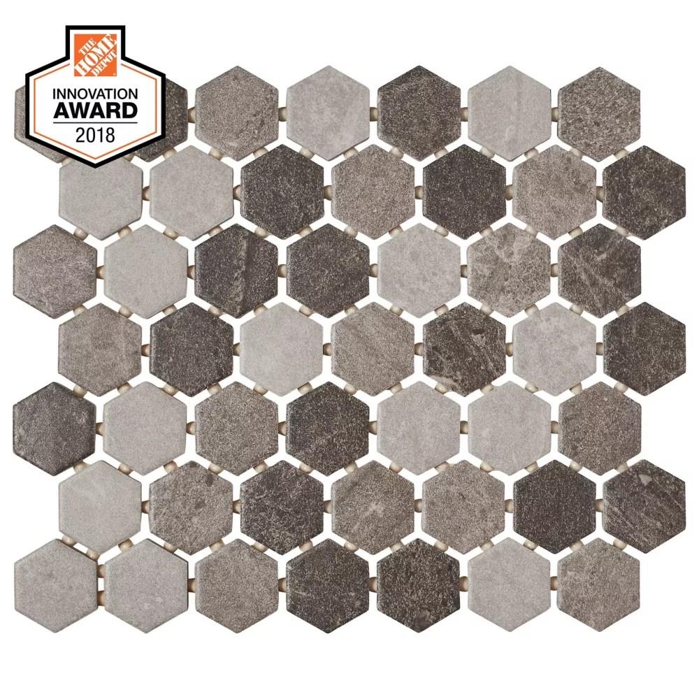 quartzite multi grey 10 inch x 12 inch x 6 mm ceramic hexagon mosaic tile 0 81 sq ft piece