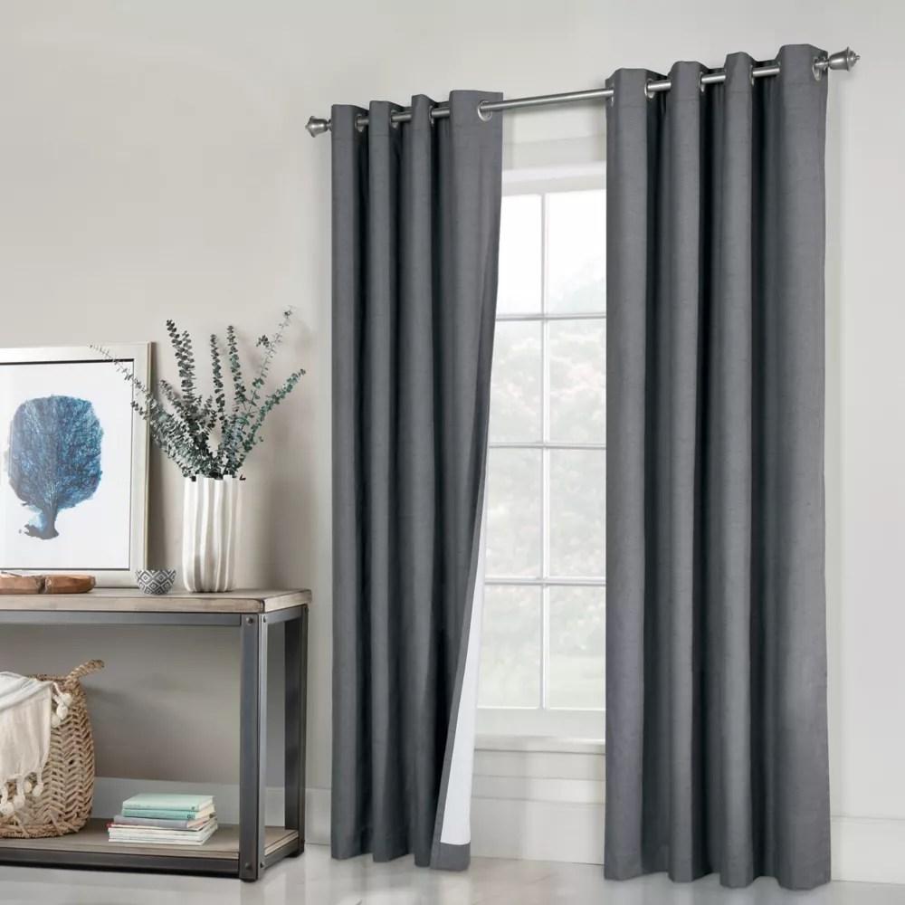 paire de rideaux a oeillets ventura 100 occultant largeur 132 cm x longueur 160 cm gris fonce