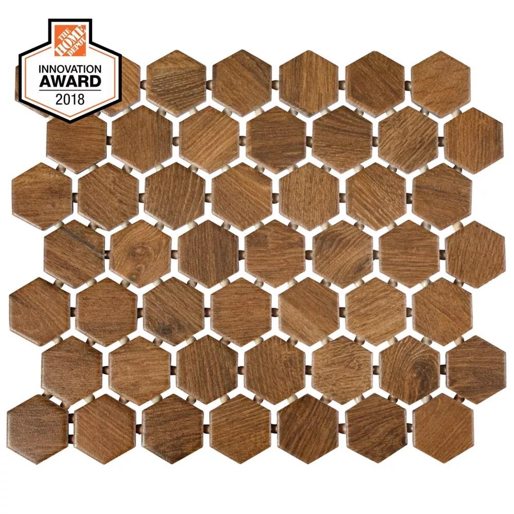 revere wood 10 inch x 12 inch x 6 mm ceramic hexagon mosaic tile 0 81 sq ft piece