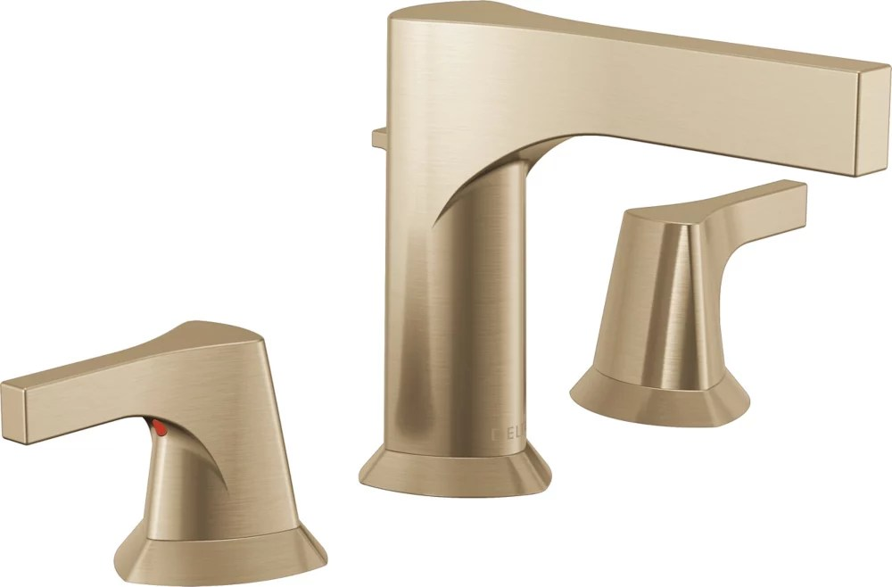 zura 8 inch widespread 2 handle bathroom faucet with metal drain assembly in champagne bronze