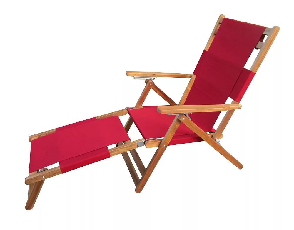 chaise longue portative patioflare avec repose pieds rouge