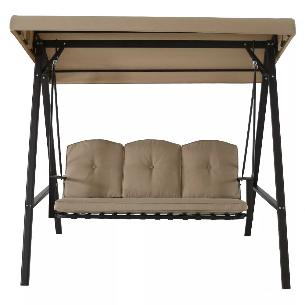 cunningham 3 person metal outdoor patio swing with canopy