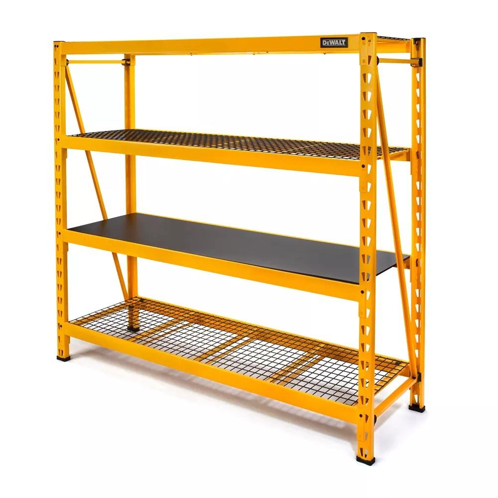 72 inch h x 77 inch w x 24 inch d 4 shelf steel laminate industrial storage rack unit in yellow