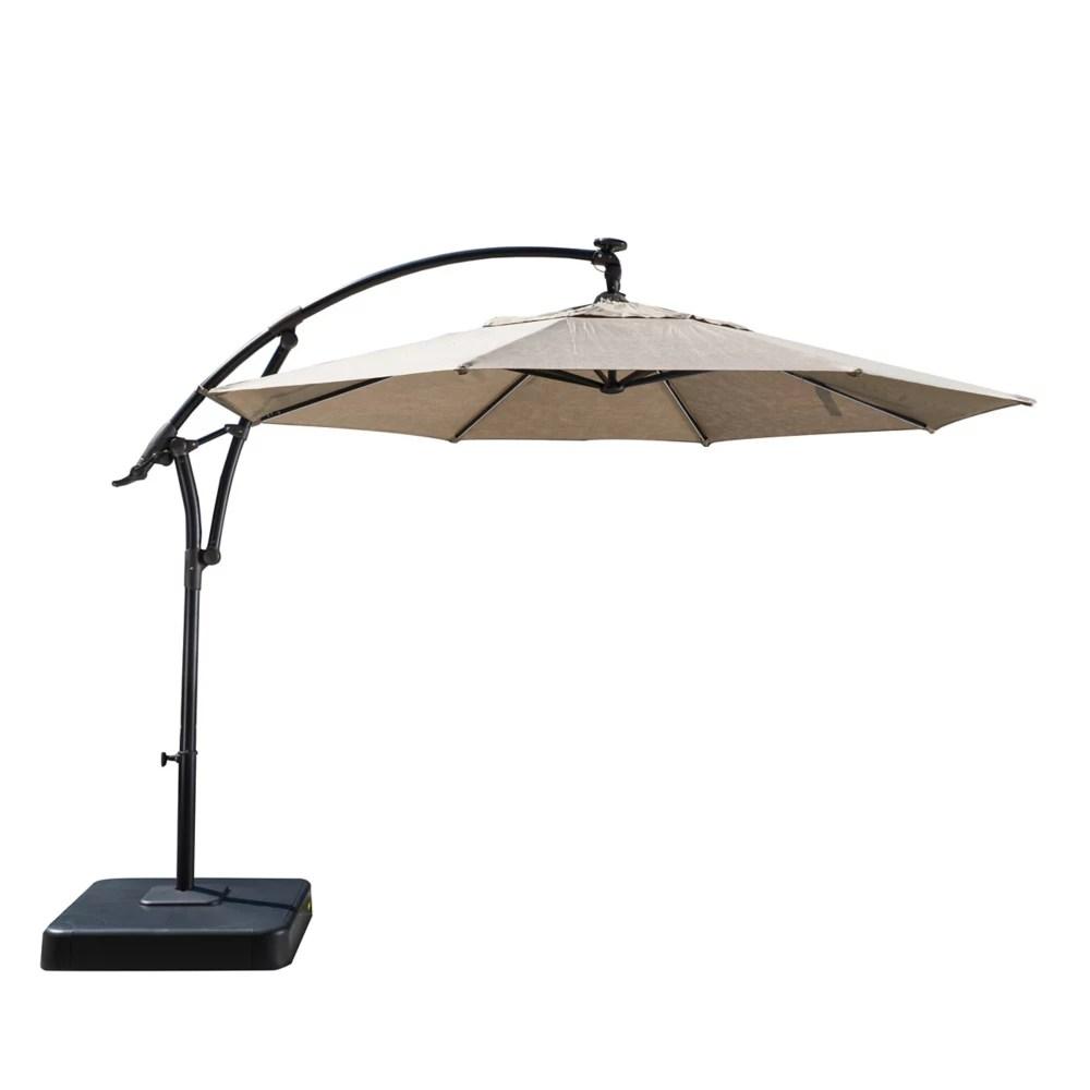 11 ft lightbar offset solar patio umbrella in tan