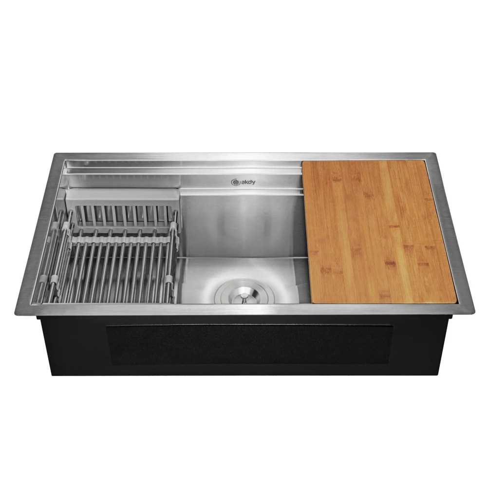 handcrafted under mount 32 inch x18 inch x9 inch single bowl kitchen sink in stainless steel with accessories