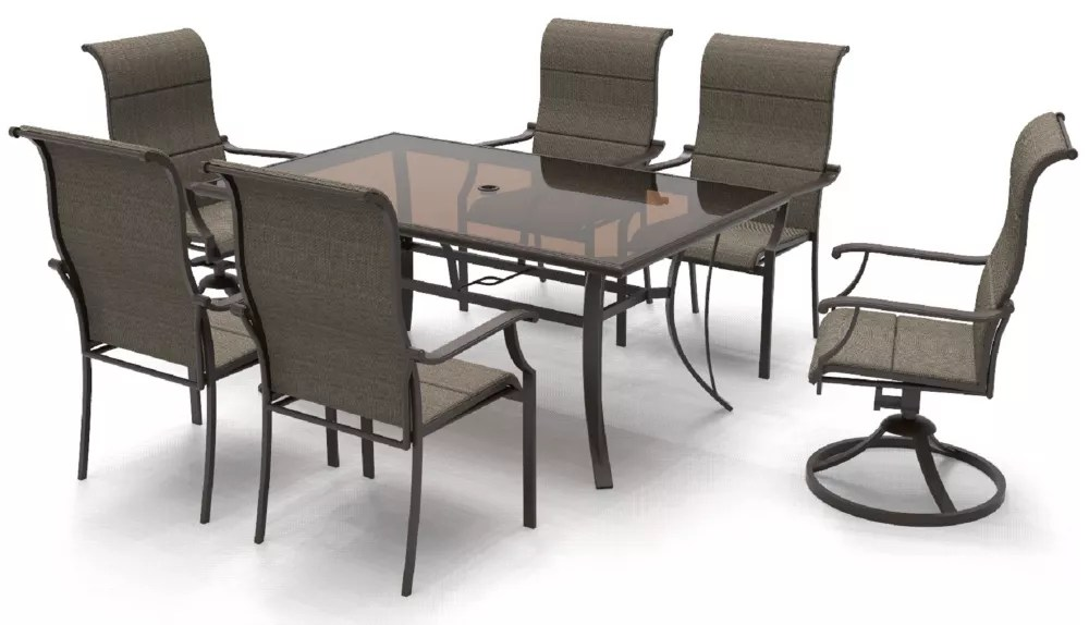riverbrook espresso brown 7 piece outdoor patio steel rectangular glass top dining set with padded sling chairs