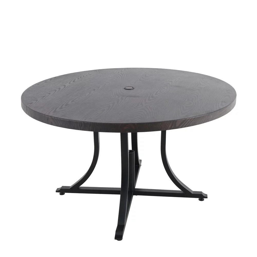 beacon park 48 inch diameter brown round steel outdoor patio dining table