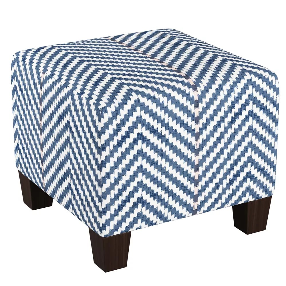 square ottoman with block legs in broken twill lg navy blush oga