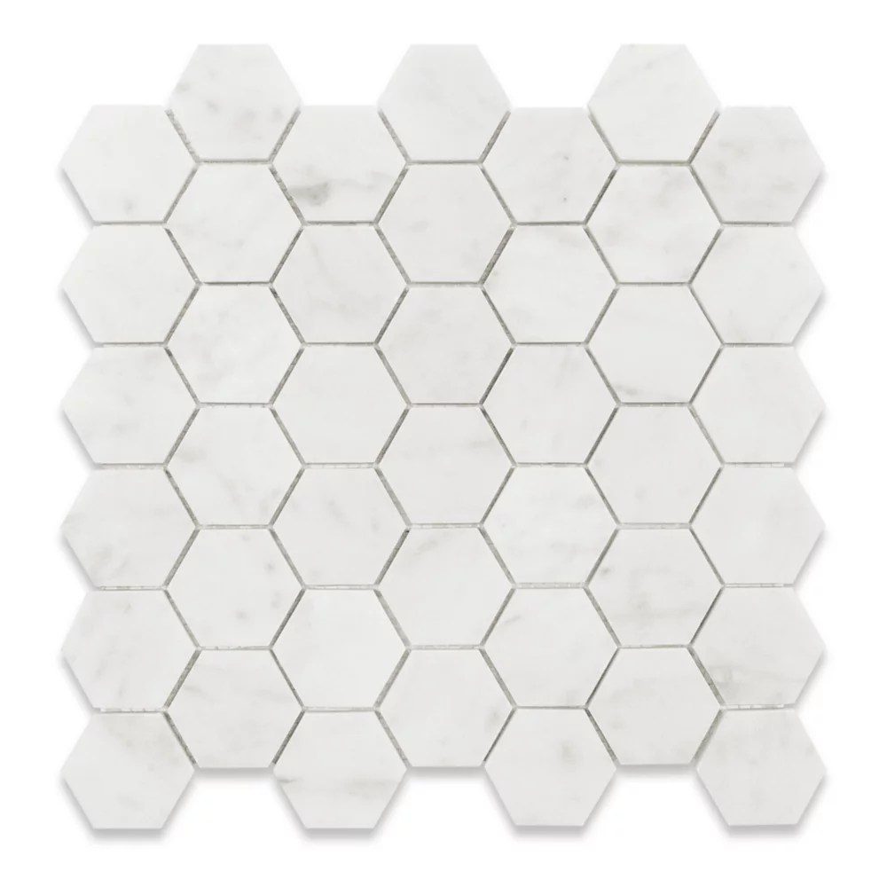 bianco carrara hexagon polished white 2 inch x 2 inch marble wall and floor mosaic tile