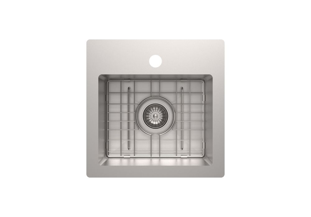 18 gauge 15 inch x 15 inch single bowl bar sink in stainless steel