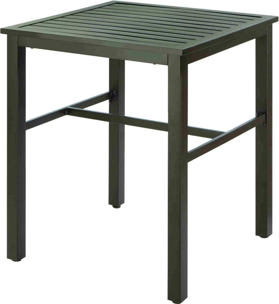 mix match balcony height slat patio bistro table in black